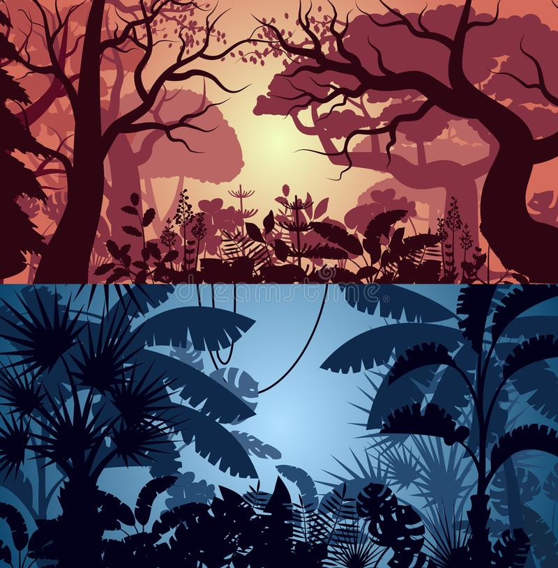 Deep tropical jungle and greenwood backgrounds stock illustration