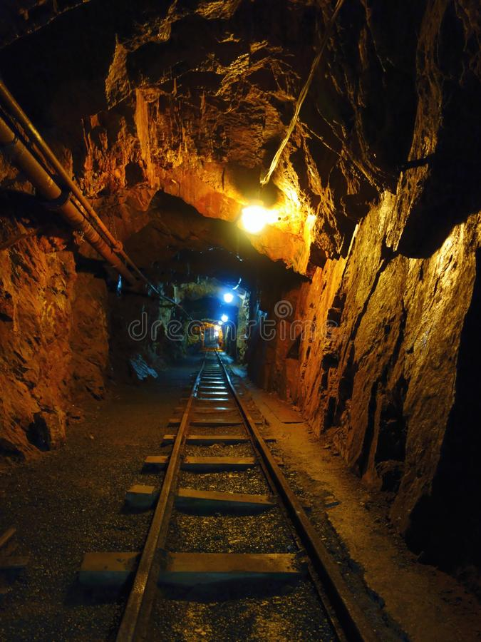 Deep in uranium mine stock photo
