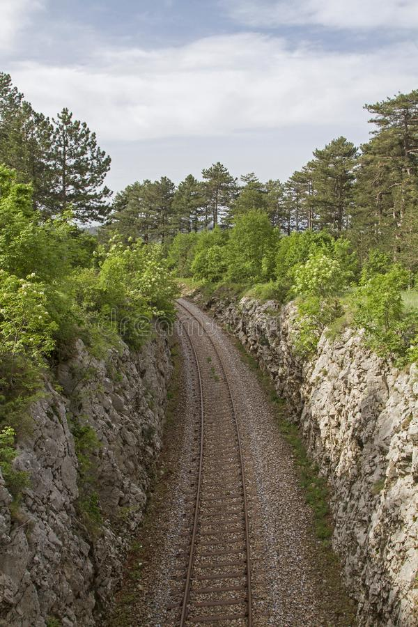 Railway track in Slovenia royalty free stock image