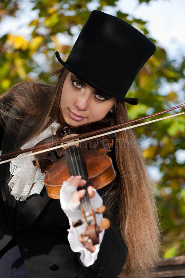 Deep violinist gaze royalty free stock image