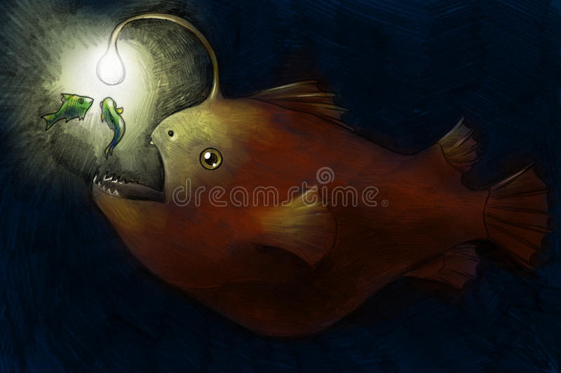 Deep water fish hunting. Hand drawn colored pencil sketch of scary deep water fish luring its prey with light vector illustration