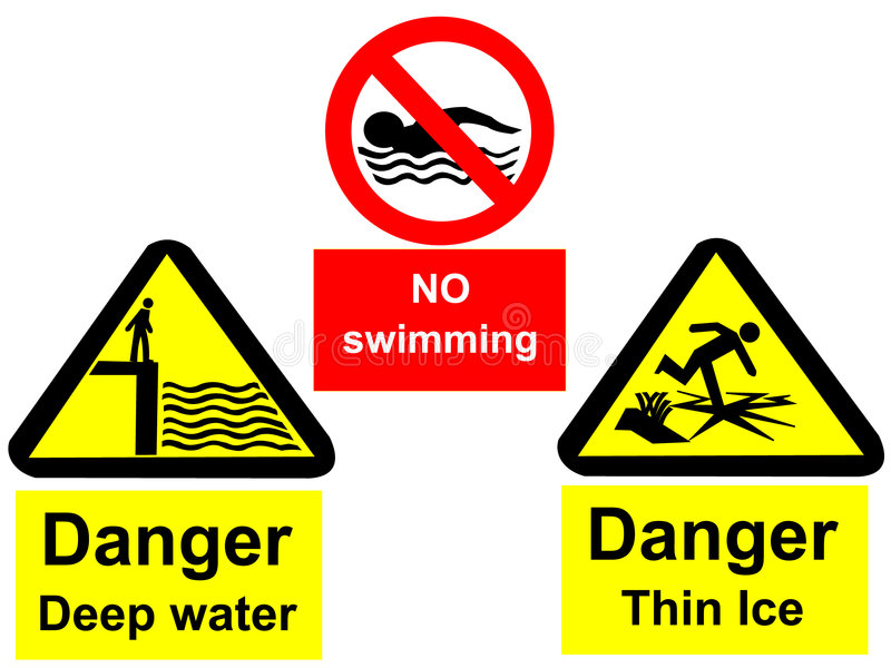 Deep water signs. Deep water no swimming and thin ice signs vector illustration