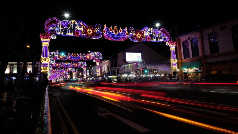 Deepavali festival. Areas along Serangoon Road & x28;Little India, Singapore& x29; in the night are beautifully decorated with colourful lights and ornaments for royalty free stock photos