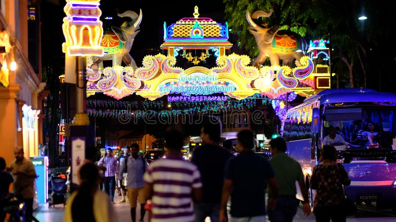 Deepavali festival. Areas along Serangoon Road Little India, Singapore in the night are beautifully decorated with colourful lights and ornaments for the annual royalty free stock photo