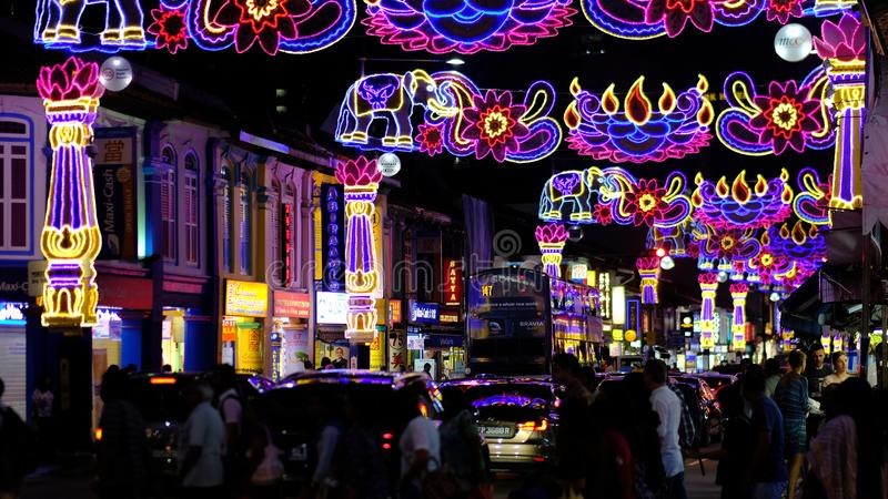 Deepavali Festival. Areas along Serangoon Road Little India, Singapore in the night are beautifully decorated with colourful lights and ornaments for the annual royalty free stock photos