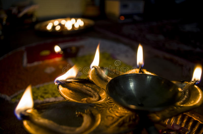 Deepawali Puja. Mandala and lights readied to worship Goddess Laxmi, the Hindu goddess of wealth and prosperity, at the time of Deepawali royalty free stock photos
