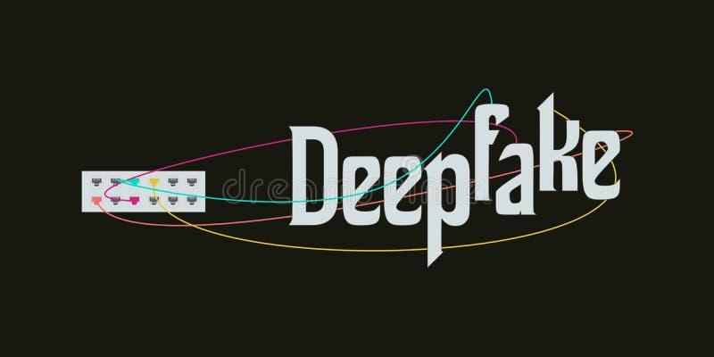 Deepfake AI概念传染媒介 免版税库存照片