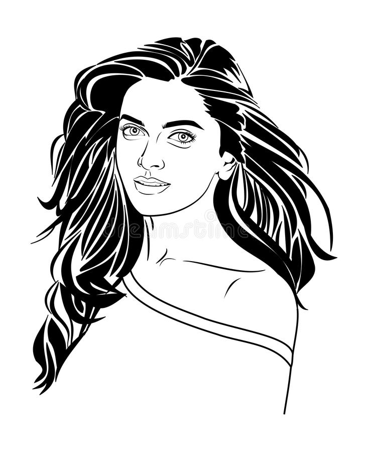 Deepika Padukone linii wektor royalty ilustracja