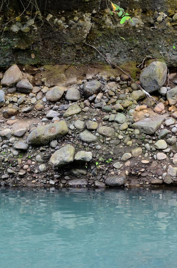 Deeply eroded river bank due to previous flooding. Caused by heavy rainfall royalty free stock images