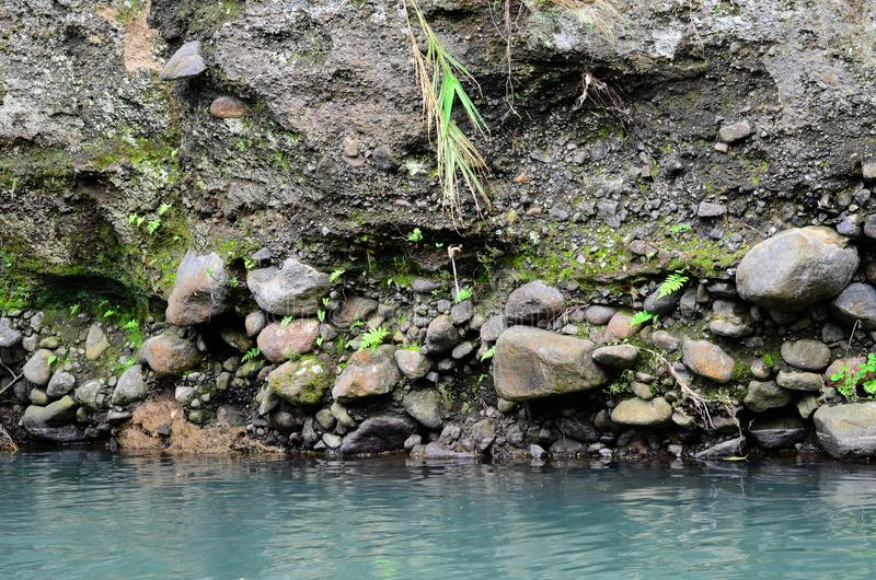 Deeply eroded river bank due to previous flooding. Caused by previous typhoon royalty free stock image