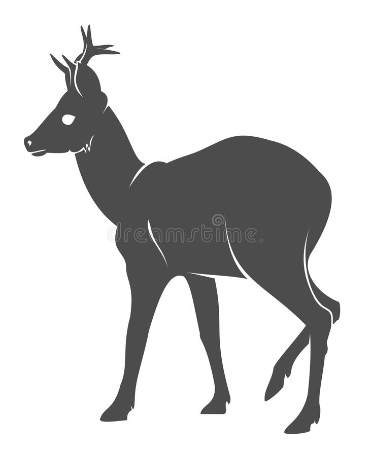 Deer. Silhouette of the deer confronting stock illustration