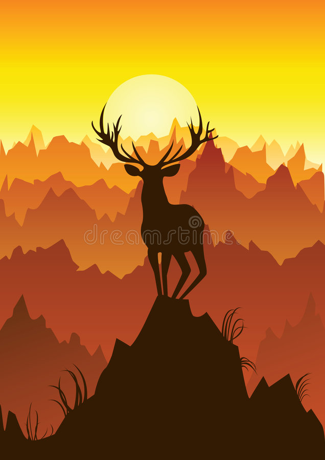 Deer. On a background of red mountains. Vector illustration