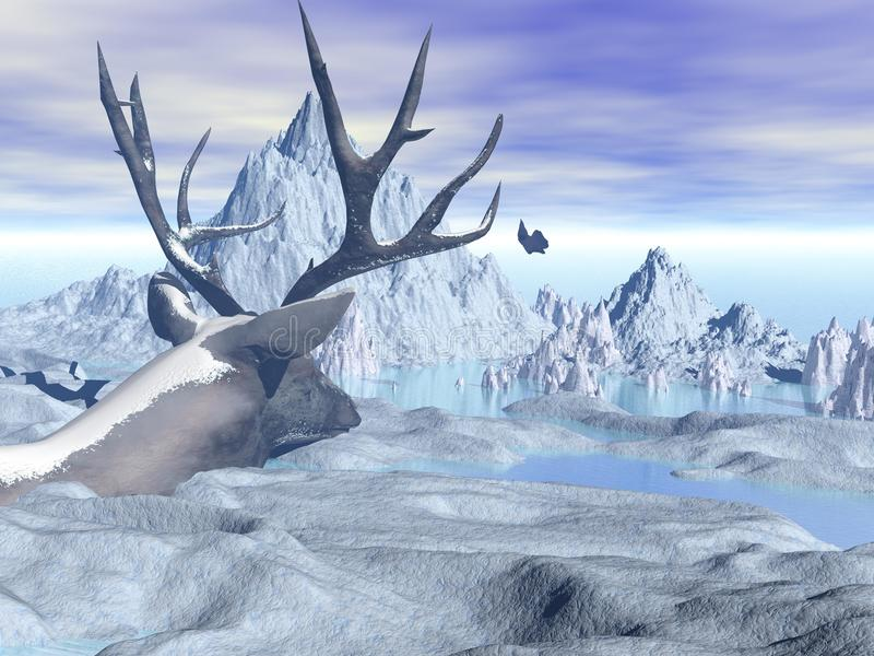 Deer. In context with snow capped mountains and sea ice vector illustration