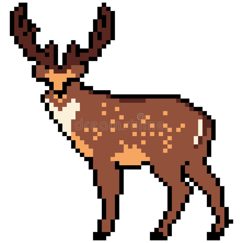 Deer abstract isolated on a white background. Vector illustration in the style of old-school pixel art. stock illustration