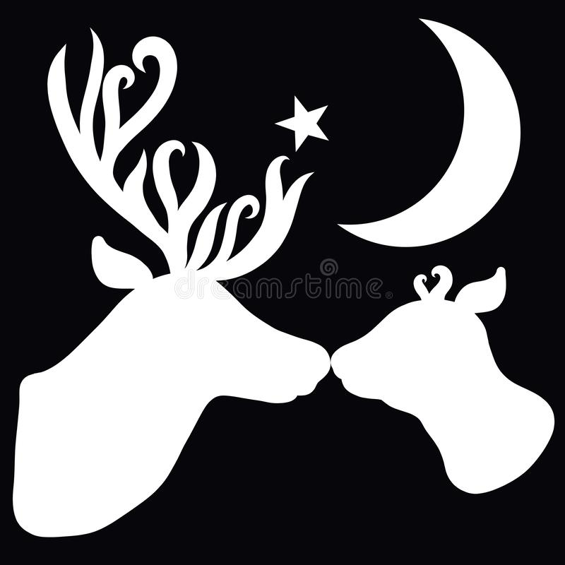 Deer, affectionate mother kisses her baby, the moon and the star.  royalty free illustration