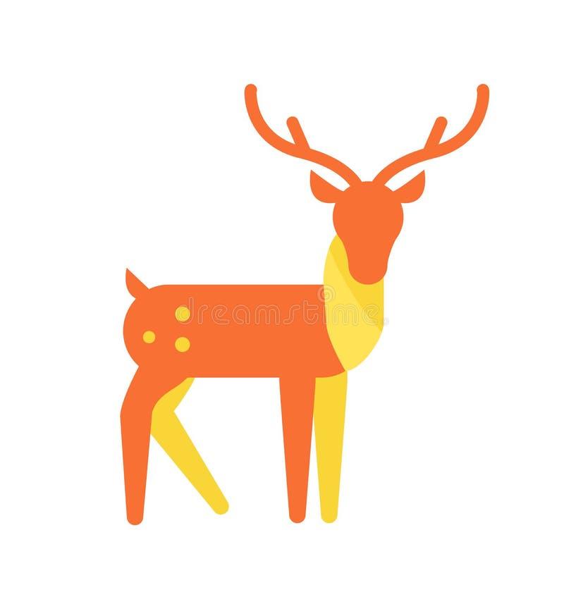Deer Animal Icon, Horned Reindeer in Orange Color royalty free illustration