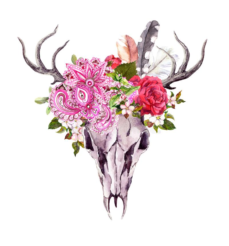 Free Deer Animal Skull - Flowers, Feathers, Tribal Ornament. Watercolor Royalty Free Stock Photo - 161715405