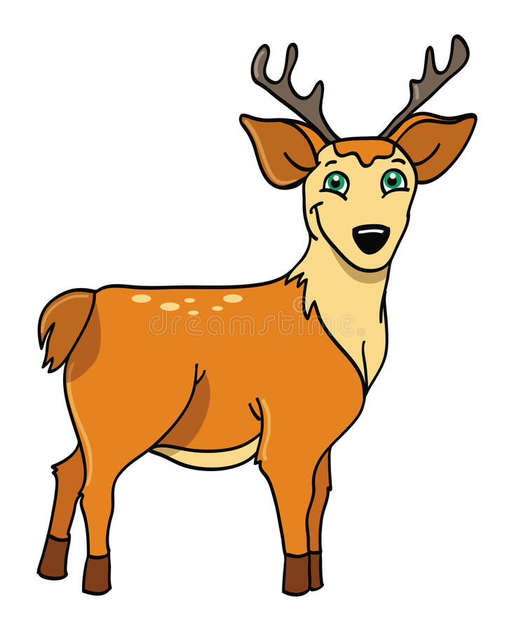 Deer with antlers. Cartoon illustration of a deer with antlers stock illustration