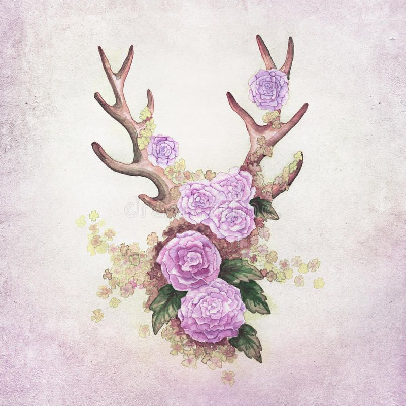 Deer antlers with flowers. Deer antlers with flower decoration background, handpainted wit aqua colors royalty free illustration