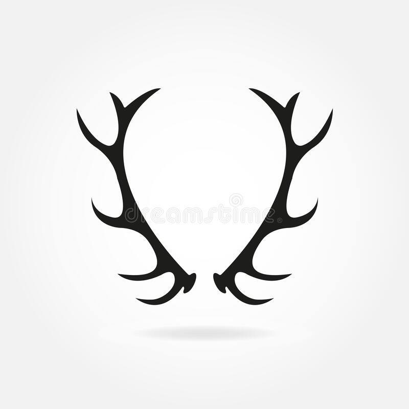 Free Deer Antlers. Horns Icon. Black Silhouette Of Antlers In Retro Style. Vector Illustration Stock Images - 195698914