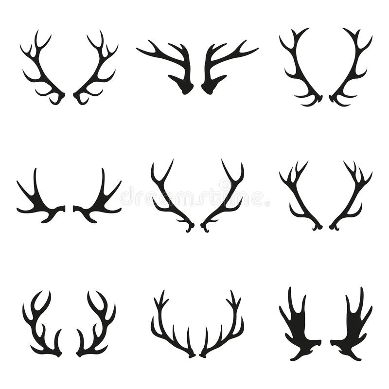 Deer antlers icon set. Horns icon collection isolated on white background. Vector illustration. Deer antlers icon set. Horns icon collection isolated on white stock illustration