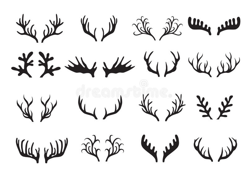 Deer antlers set isolated on white background. Deer antlers collection isolated on white background. Vector illustration vector illustration