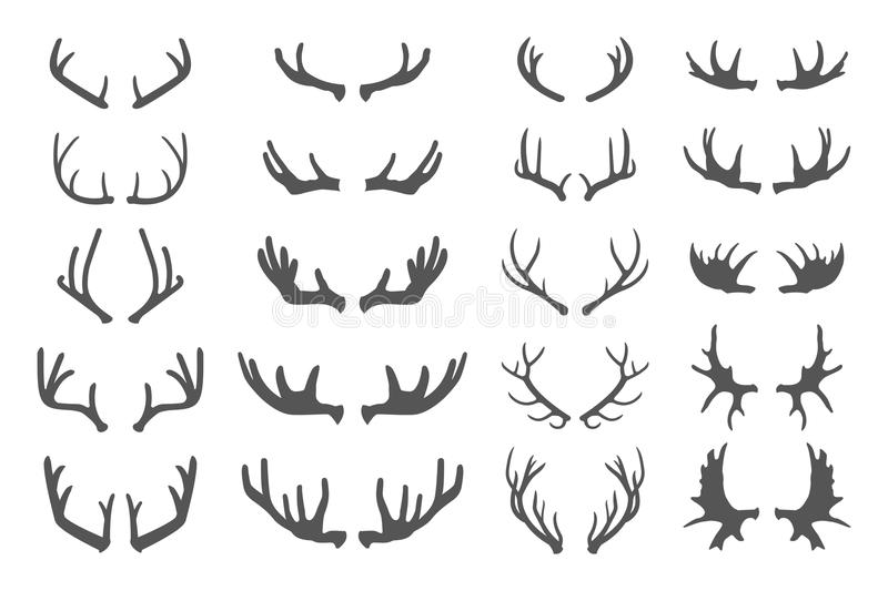 Deer antlers. Set of various silhouettes - large, branched and acute on white. Collection of vector elements on the theme of of hunting, tourism and royalty free illustration