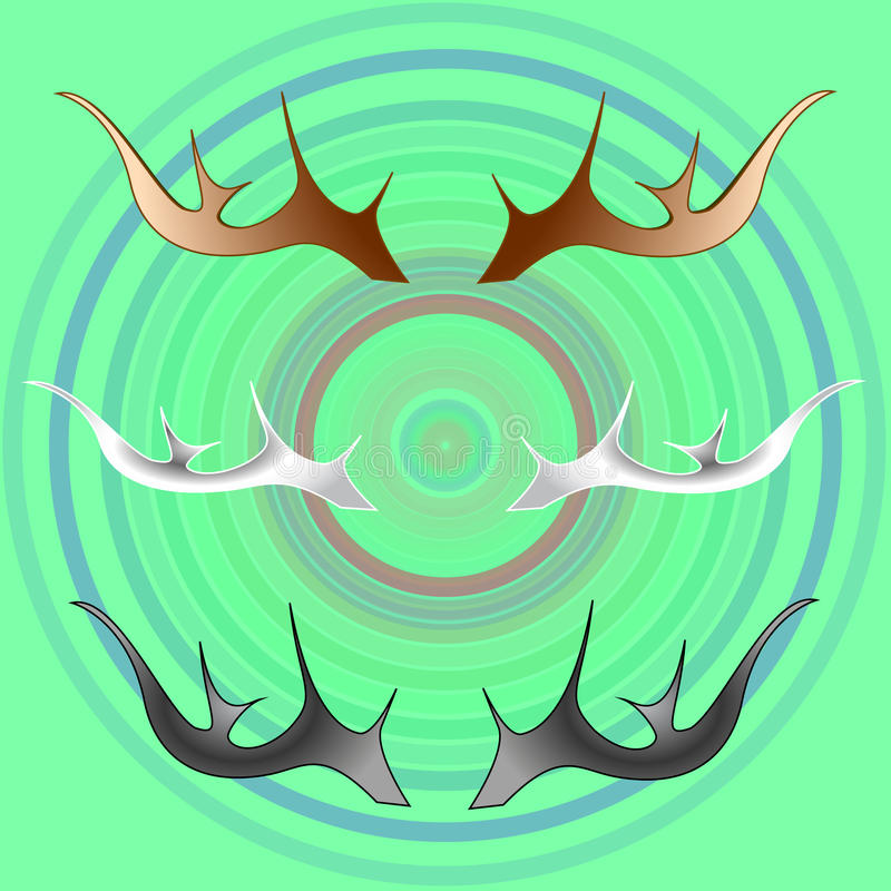 Deer antlers. Trio: brown, gray and white royalty free illustration