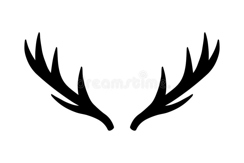 Deer antlers vector. Deer antlers. Vector illustration drawing. Isolated deer antlers print. Isolated on white background stock illustration