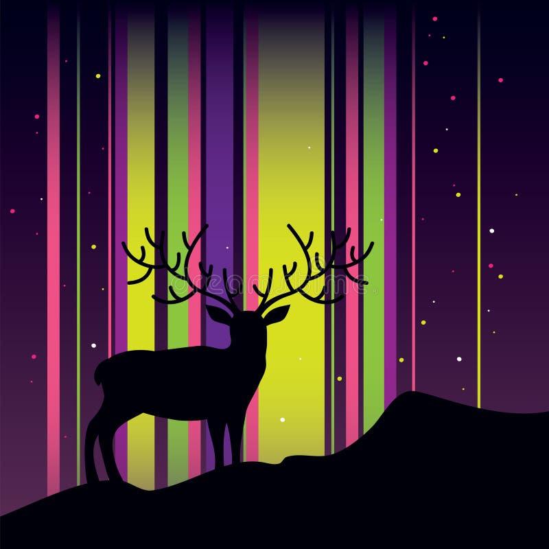Deer and aurora vector illustration