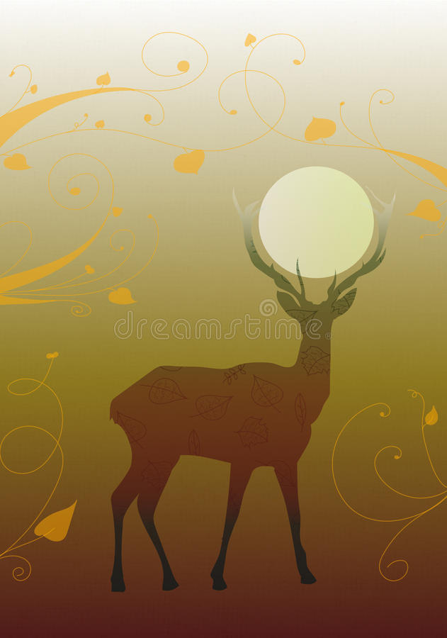 Deer autumn silhouette royalty free stock images