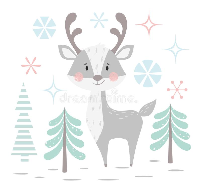 Deer baby winter print. Cute animal in snowy forest christmas card. royalty free illustration
