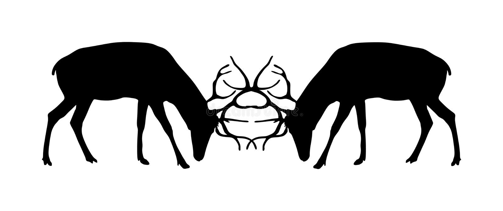 Deer battle  silhouette illustration isolated on white background.  Red deer fighting for female. Struggle in forest. royalty free illustration