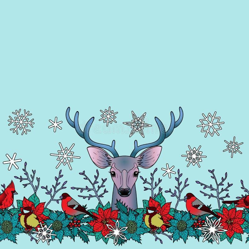 Deer and Birds Winter Seamless Border vector illustration
