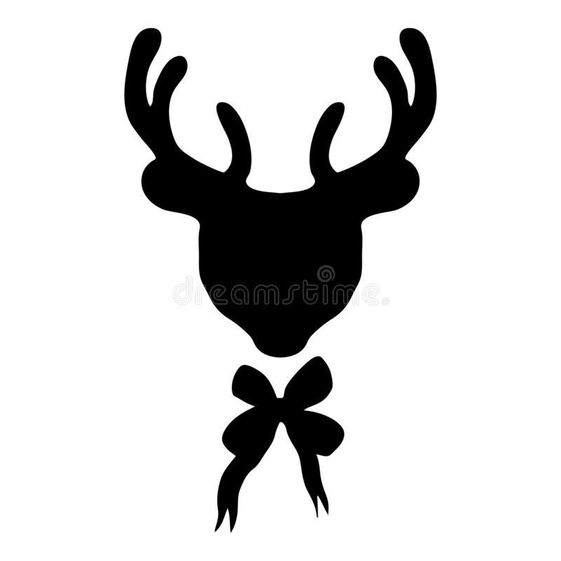The deer with the bow tie.Female outlines.Deer head silhouette isolated.The object on a white background stock illustration