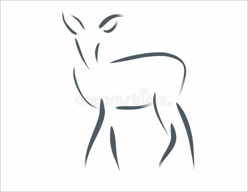 Deer calligraphic line arts freehand varying widths contour strokes logo element. Deer calligraphic line arts freehand varying widths contour strokes linear vector illustration