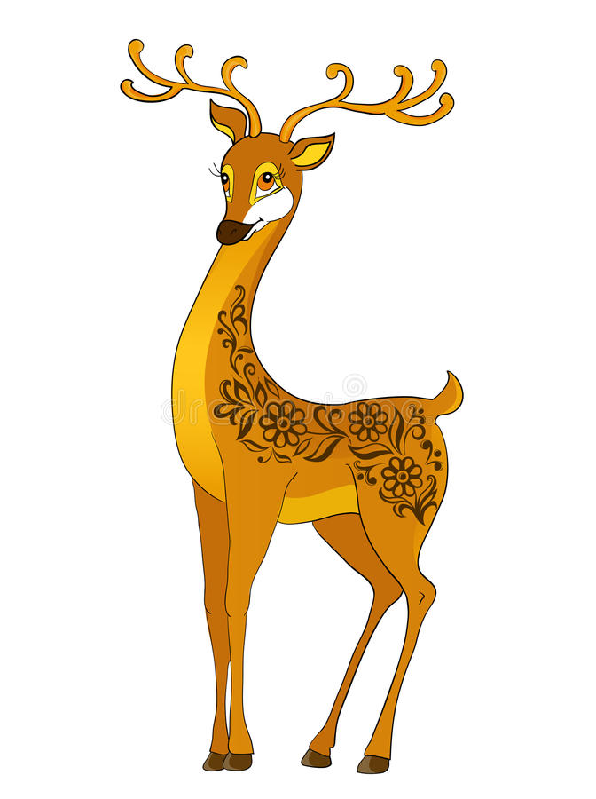 Free Deer Cartoon, With Floral Abstract Royalty Free Stock Photography - 27497387