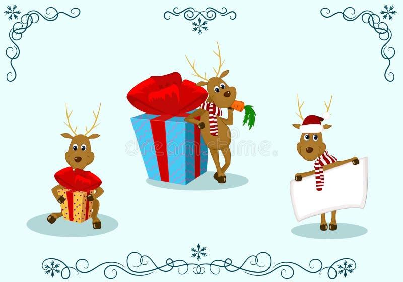 Deer christmas gift royalty free illustration