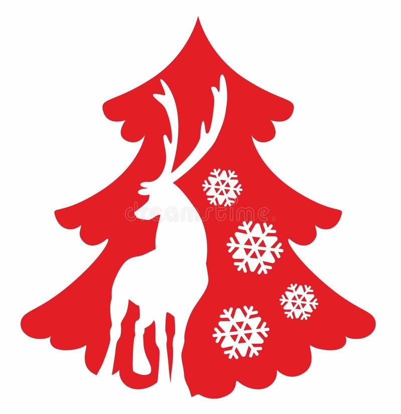 Deer and Christmas tree stock photo