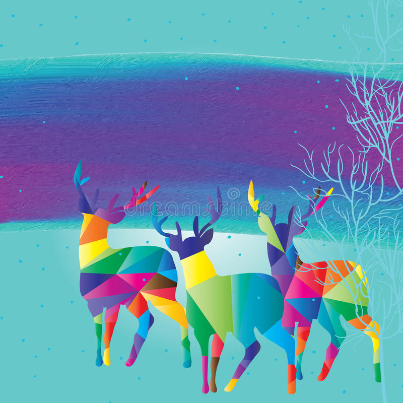 Deer colorful look. Illustration design deer colorful look fantasy template tree snow green color background graphic element royalty free illustration