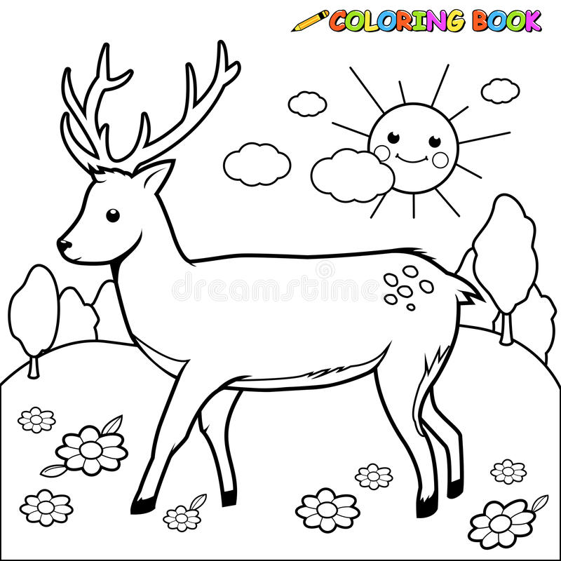 Deer coloring book page. Vector Illustration of a black and white outline image of a deer royalty free illustration