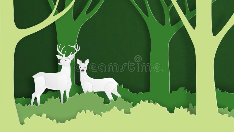 Deer couple wildlife in green nature forest background template in paper cut style. Ecology and environment conservation creative stock photo