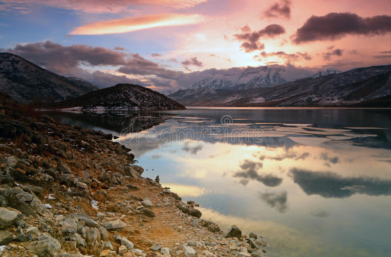 Deer Creek sunset reflection. royalty free stock images