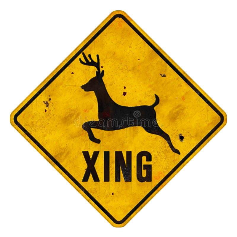 Deer Crossing Sign Grunge stock photo