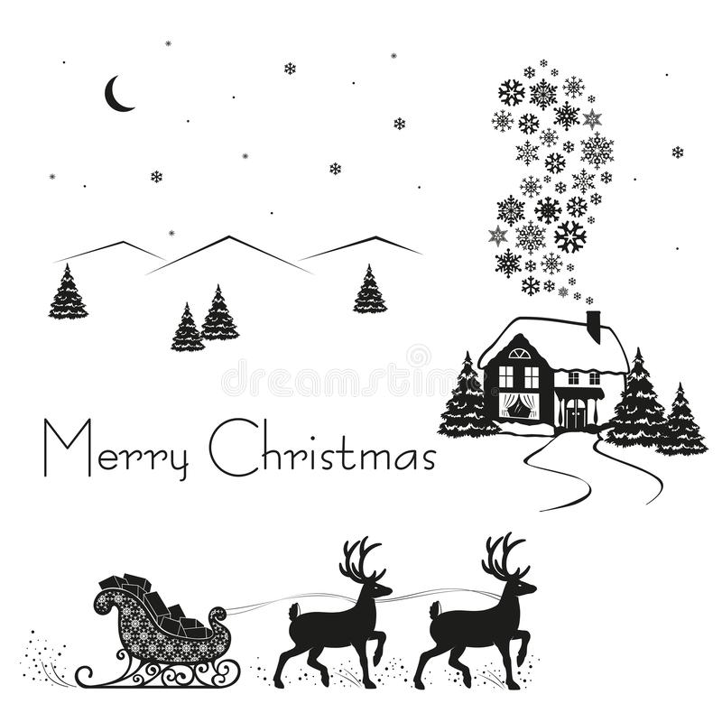 Deer driven sledge of Santa Claus with gifts, black silhouette on white snow, vector illustration stock illustration