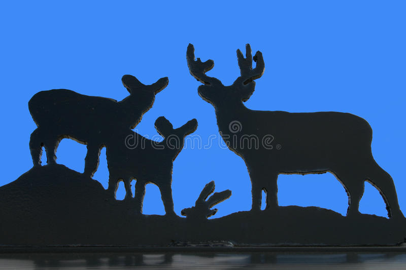 Download Deer Family Silhouette stock image. Image of carving - 20431887