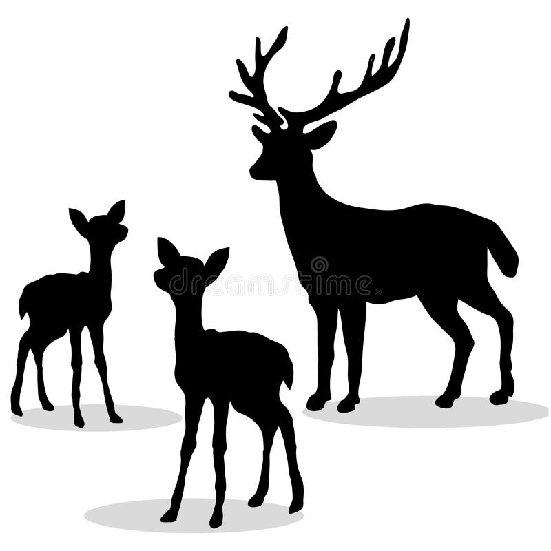 Free Deer Family Silhouette Black On White Background Stock Photography - 90418922