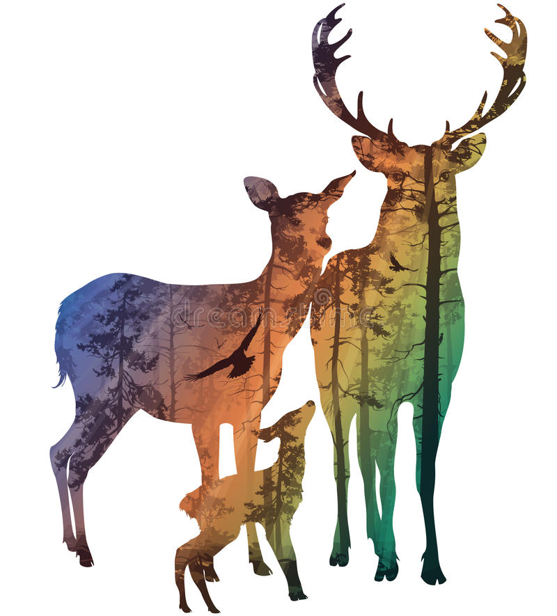 Deer family vector illustration