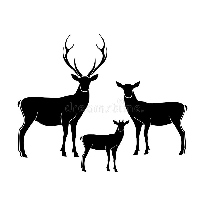 Free Deer Family Vector Isolated Illustration. Deer Papa , Deer Mama And Fawn Isolated Silhouettes. Stock Photos - 200550463