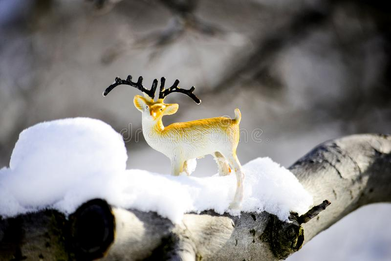 Deer figurine toy on a snow, winter theme. Image stock photography